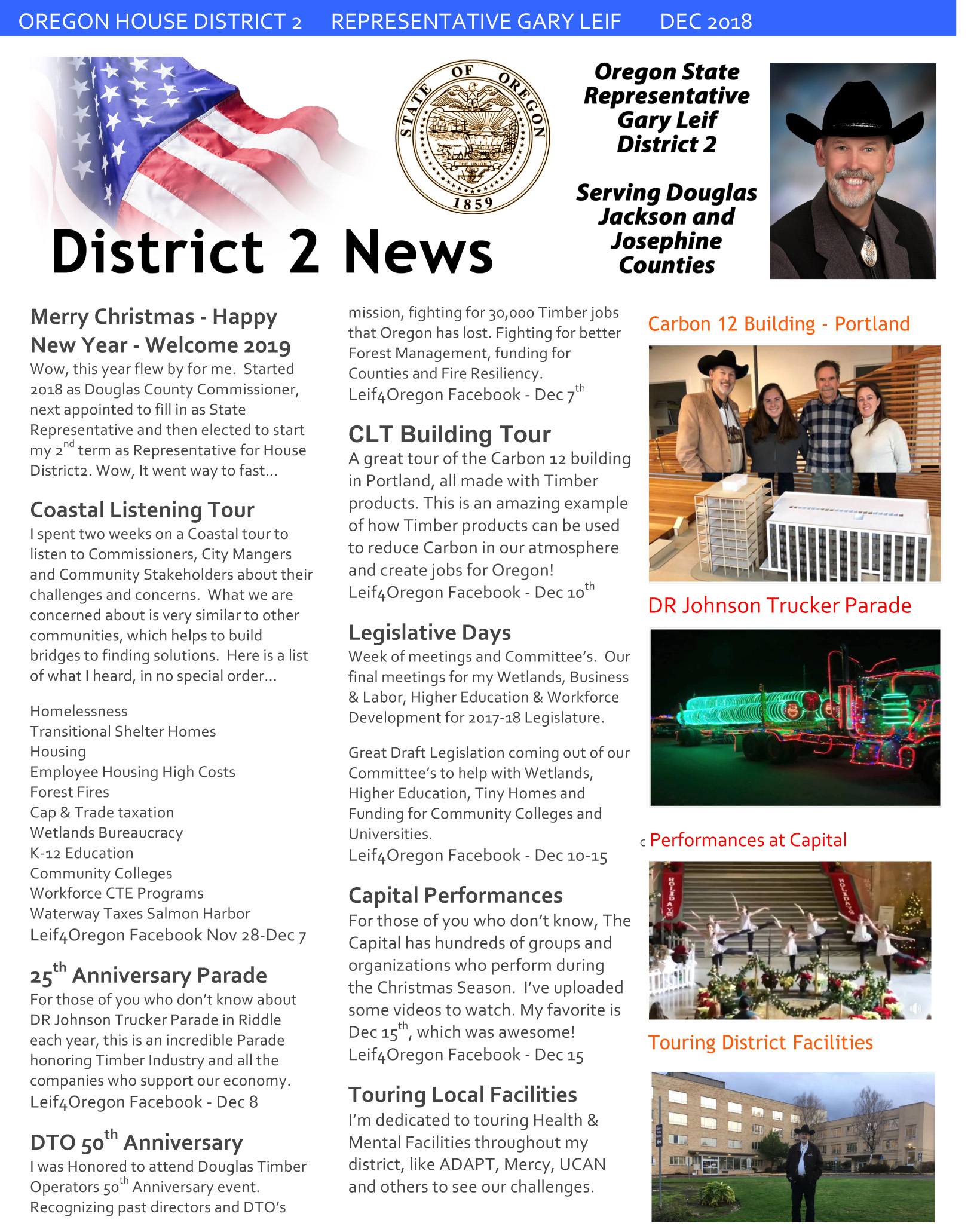 2018-12 Dec Newsletter - Leif for State Representative